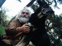 A dog called 'Aahh' with his master.jpg